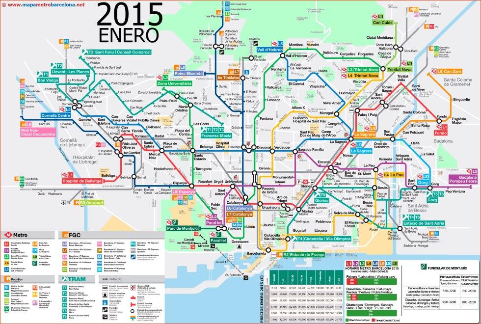 План метро Барселоны. Январь 2015